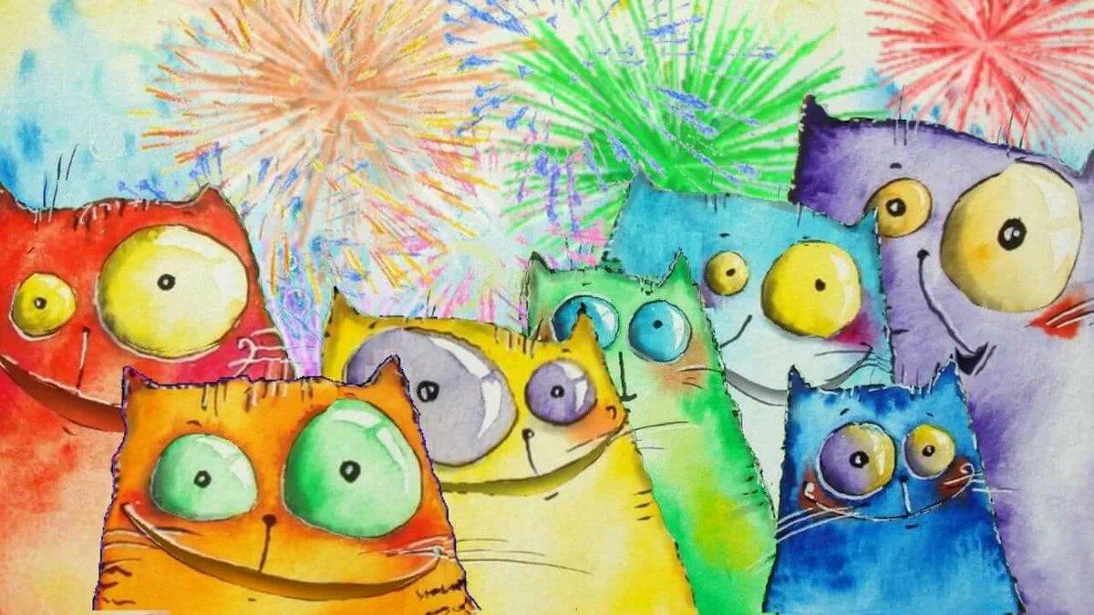 Смешные картинки с котами с днем рождения, поздравлениями