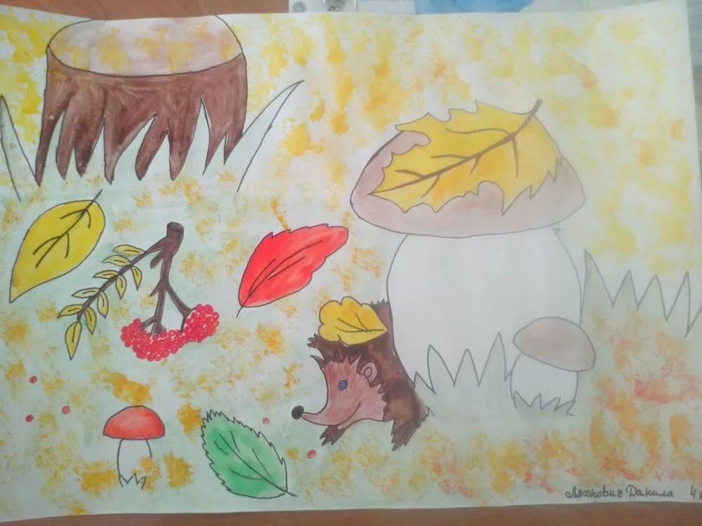 Рисунок про осень карандашом детские