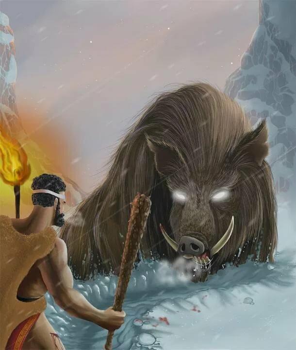 Картинки геракл и эриманфский вепрь