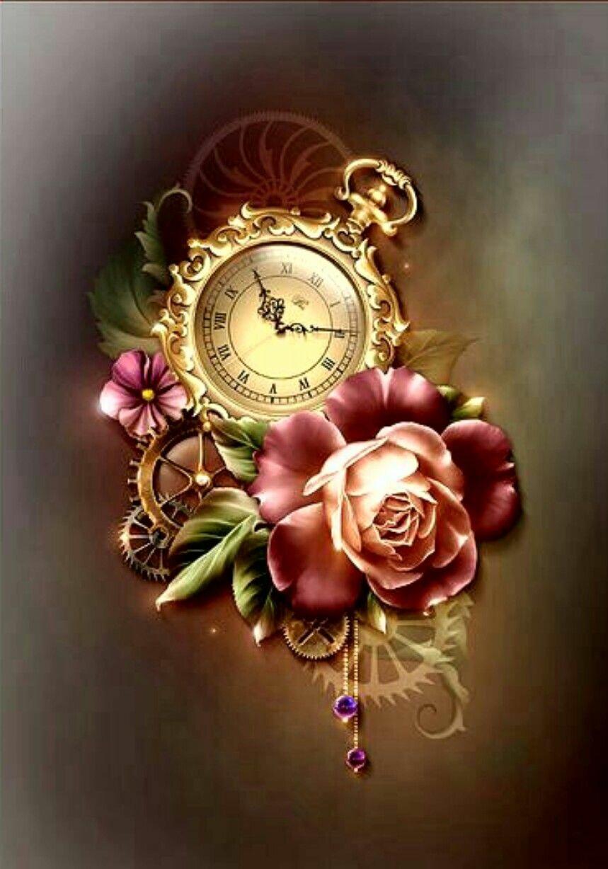 Часы на открытках, поздравления картинки днем