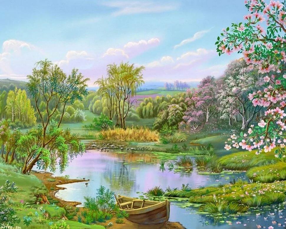 Словами, анимация весенние пейзажи