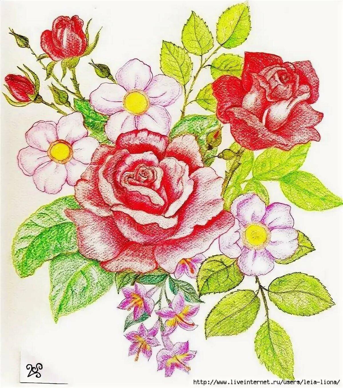 фото рисуем открытку с цветами какие