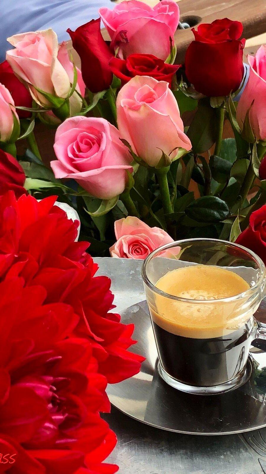 Открытка с добрым утром розы и кофе, смешные