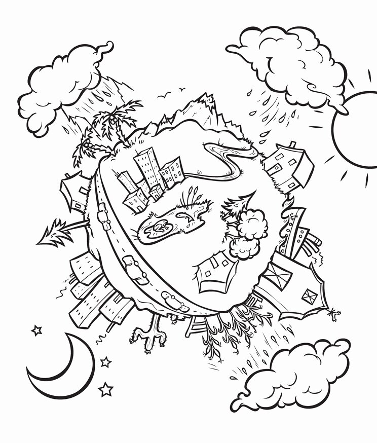 черно белый рисунок на тему экология урала деревню родне