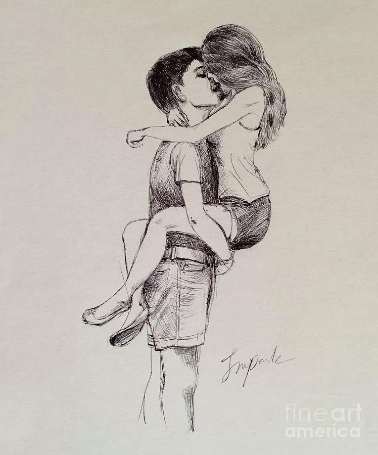 Картинки девочка и мальчик целуются для срисовки, летием