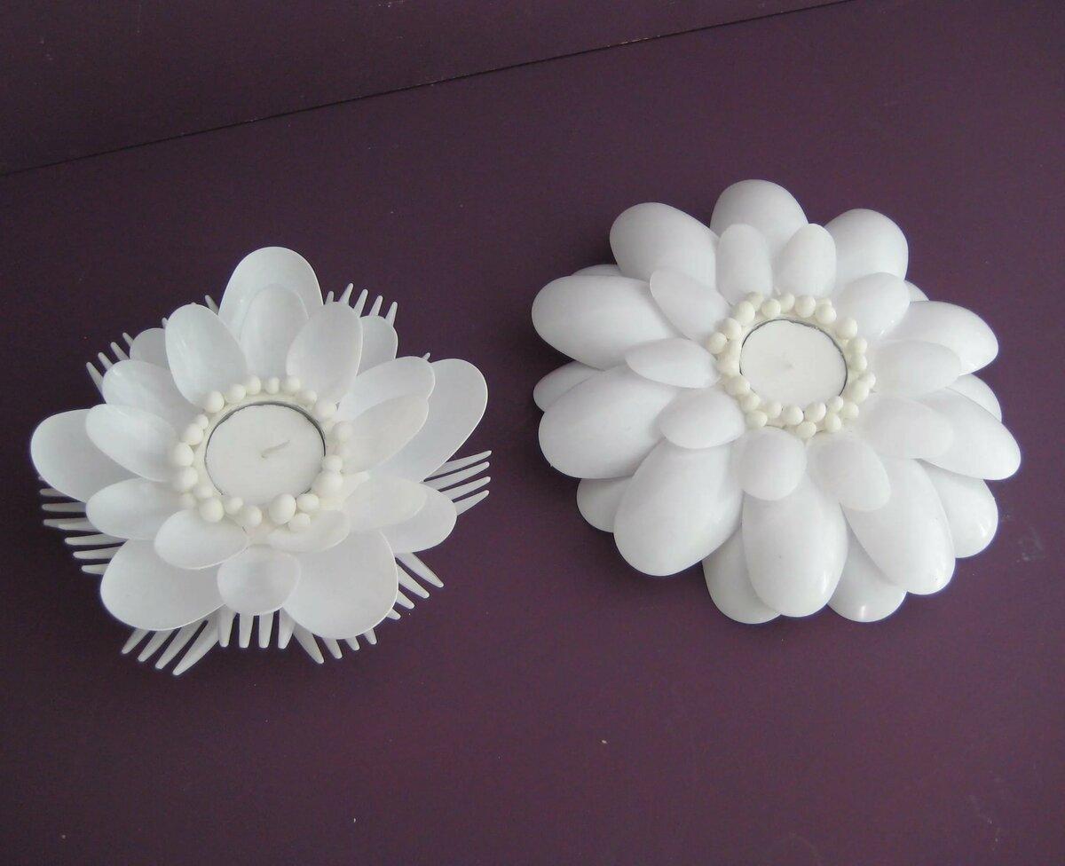 относительно легко цветы из пластиковых вилок фото мечта
