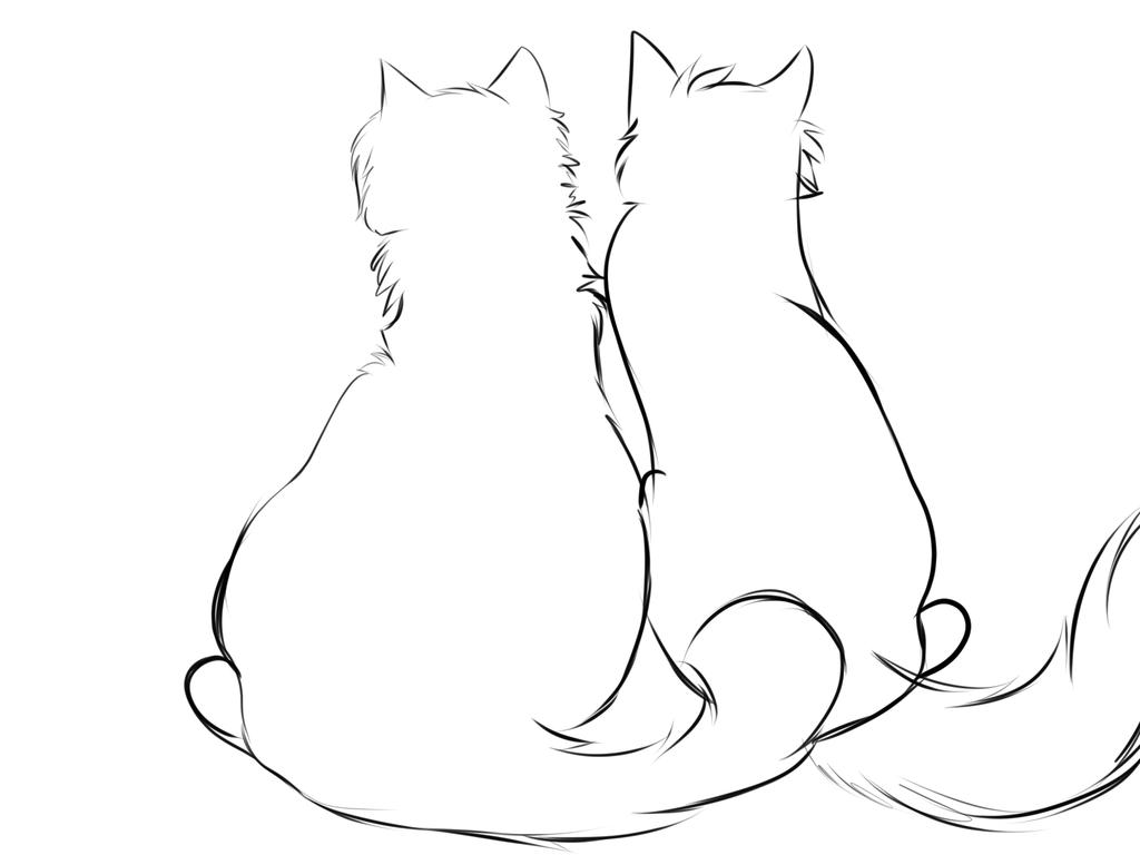 Картинки сидящих котов для срисовки