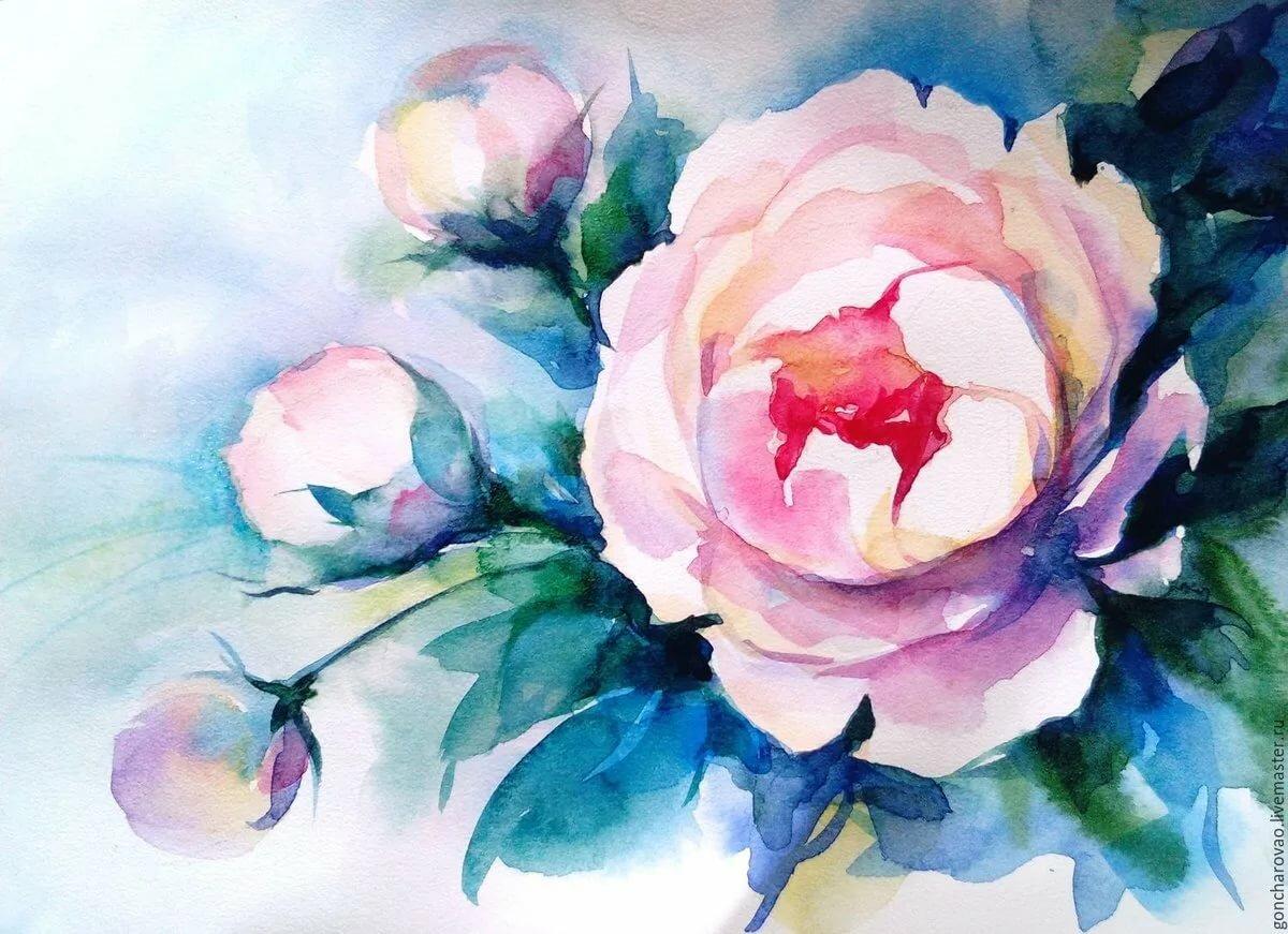 рисуем цветы акварелью картинки этом