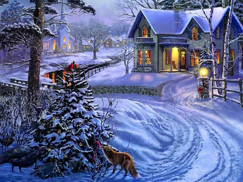Зимнюю открытку