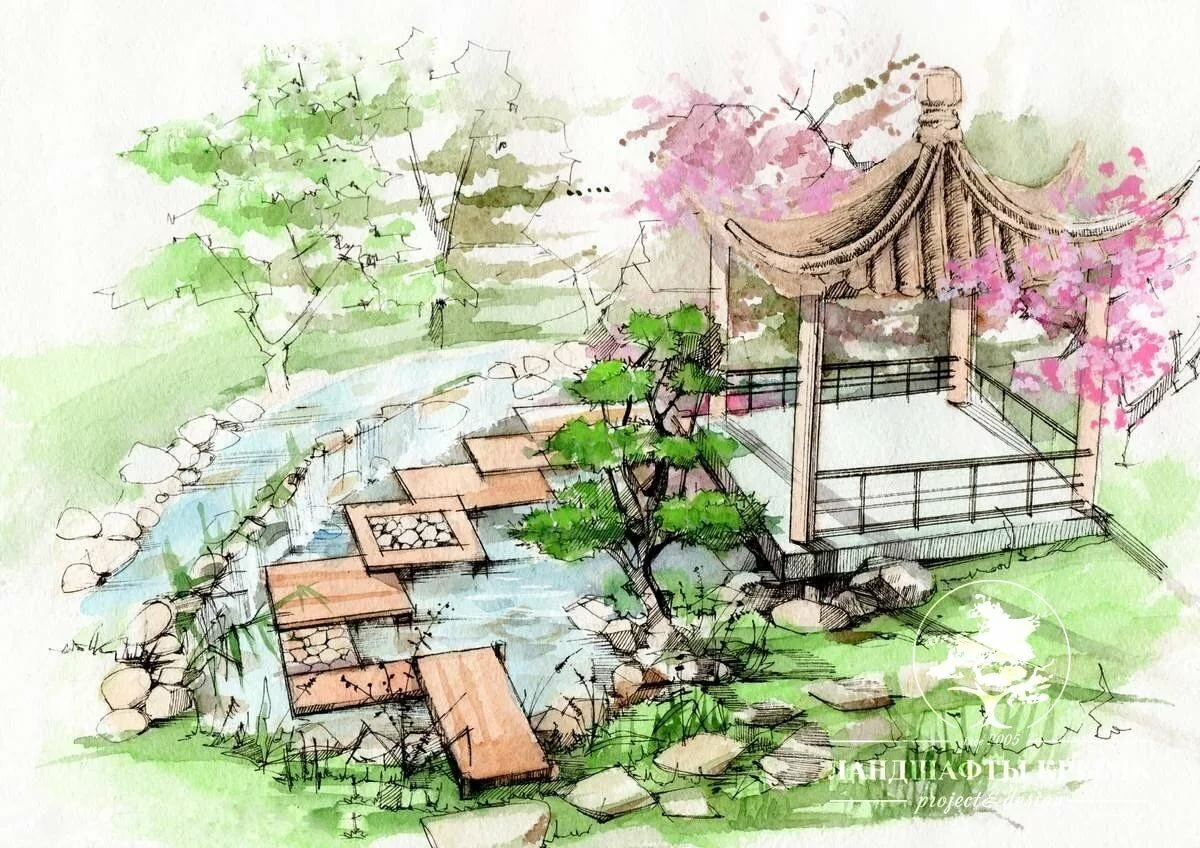 Японский сад рисунки для детей