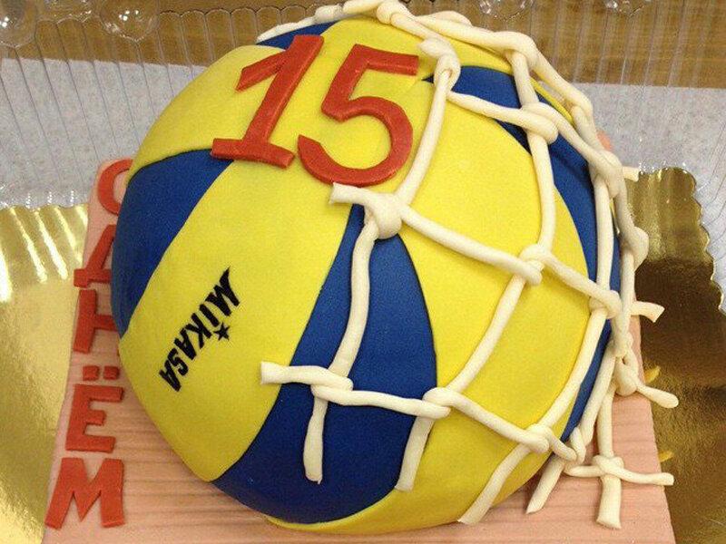 Открытка с волейбольным мячом, школьные колокольчик