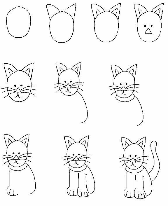 Картинки рисунки кошки веселые простые на зачет
