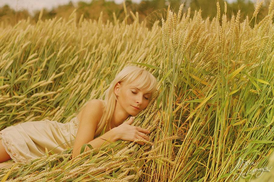 Картинки девушка на поле ржи