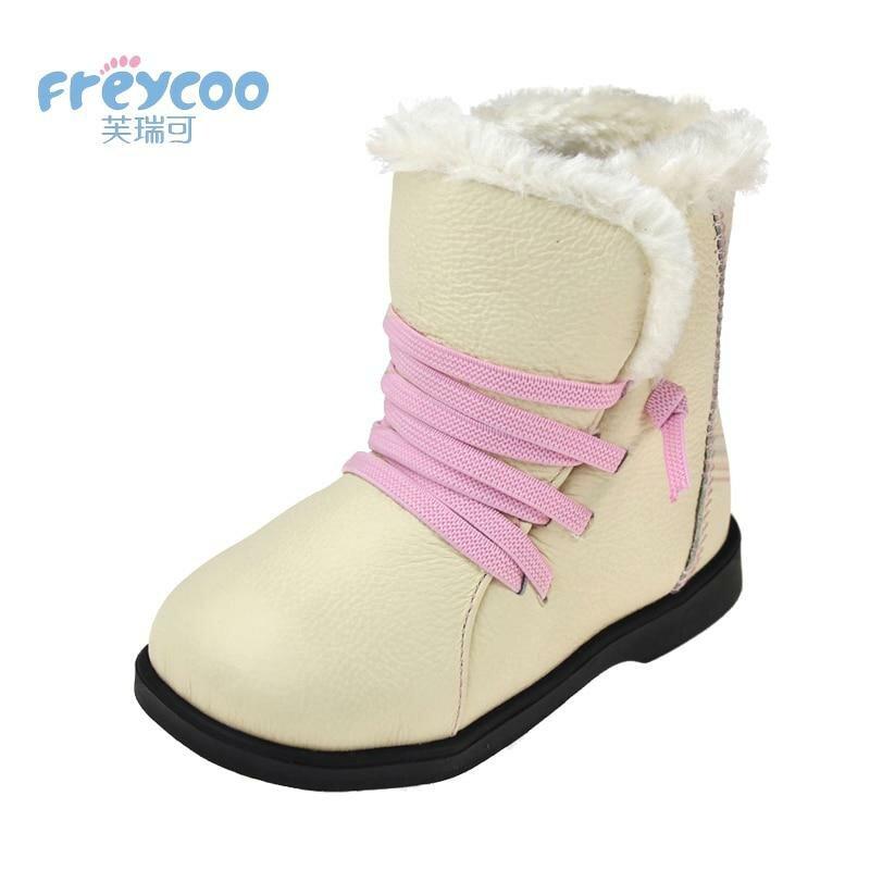 7132a58f3 ... Freycoo 2018 модная зимняя обувь для детей для девочек и мальчиков  Коускин Натуральная Leateher детей зимние