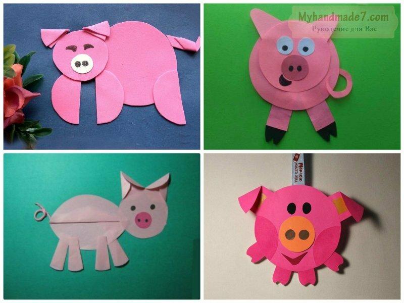 Картинки, поделки или открытки на новый год свиньи