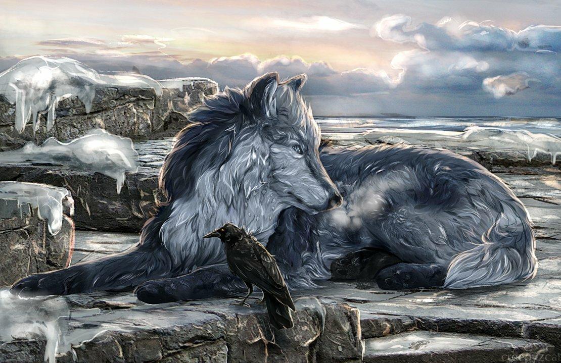 рисунок картинки волки с воронами дачи