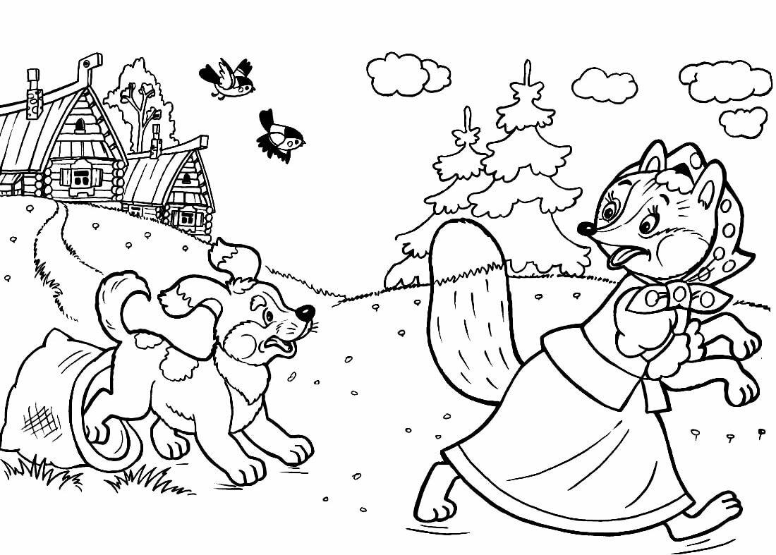 контурные картинки русских народных сказок как