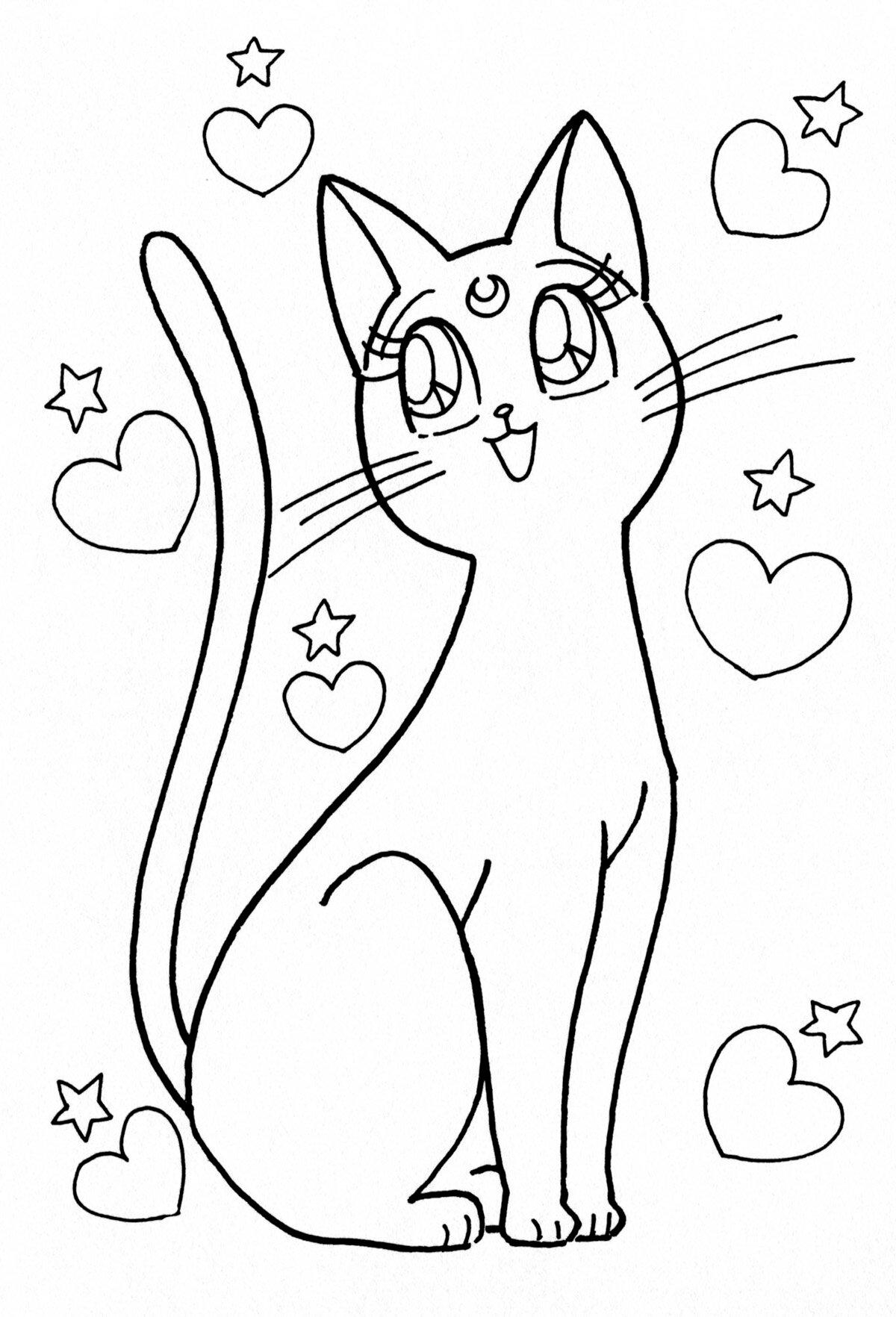 Картинки кошек красивые для раскрашивания