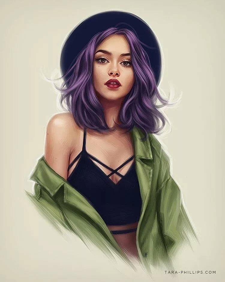 Фиолетовые девушки арт