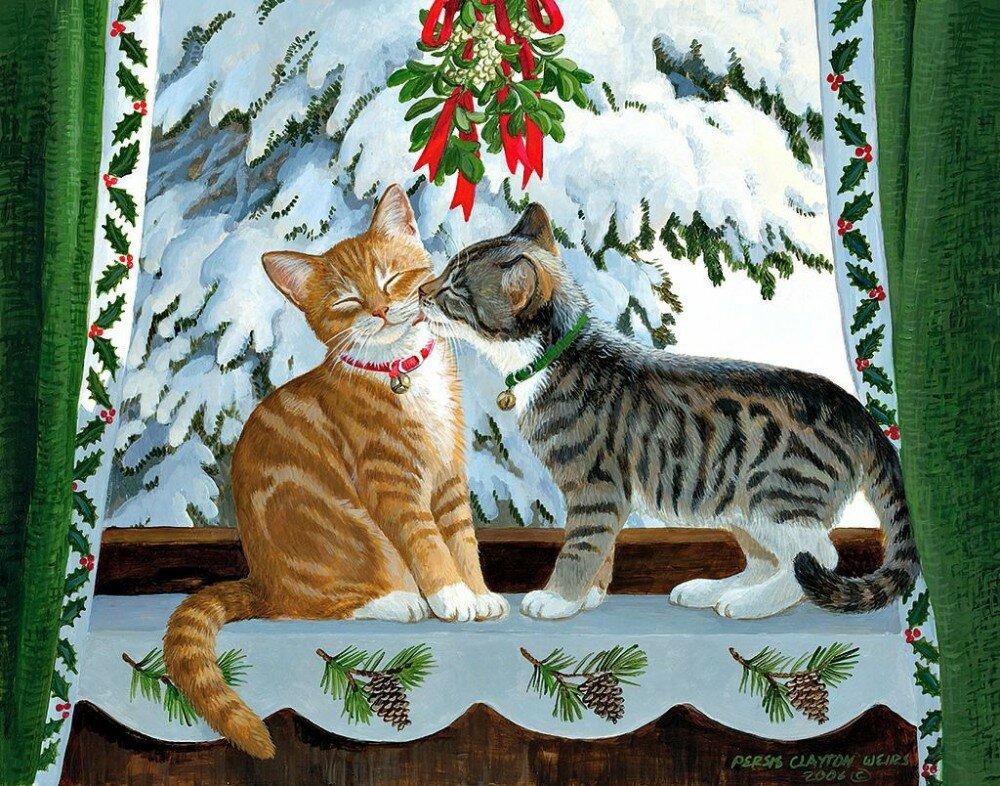 новогодняя открытка с котами цепочки, выполненные таким