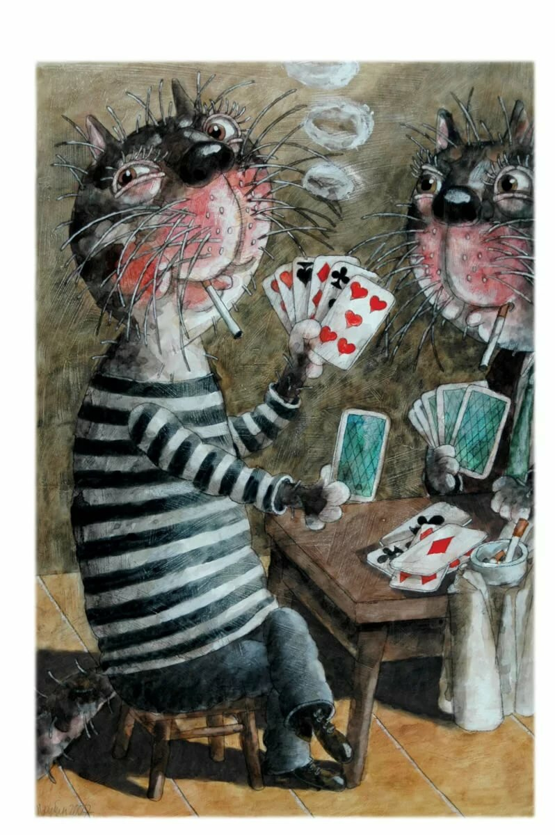 Картинки коты играют в карты