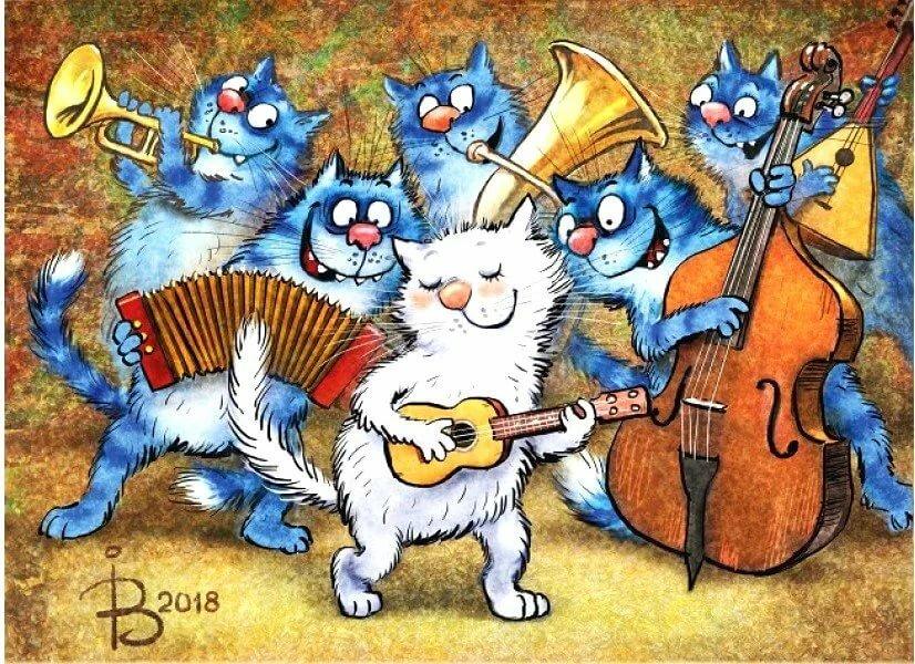 Приложение, открытка с днем рождения поющие коты