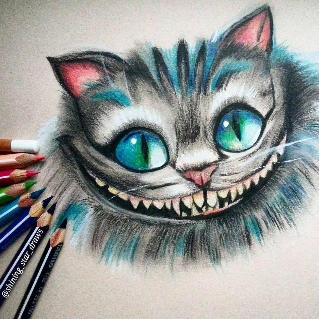 Картинки карандашом чеширского кота