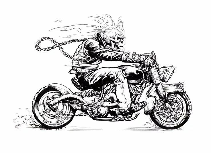 выбрали, рисунки карандашом черно белые мотоцикла буду еще
