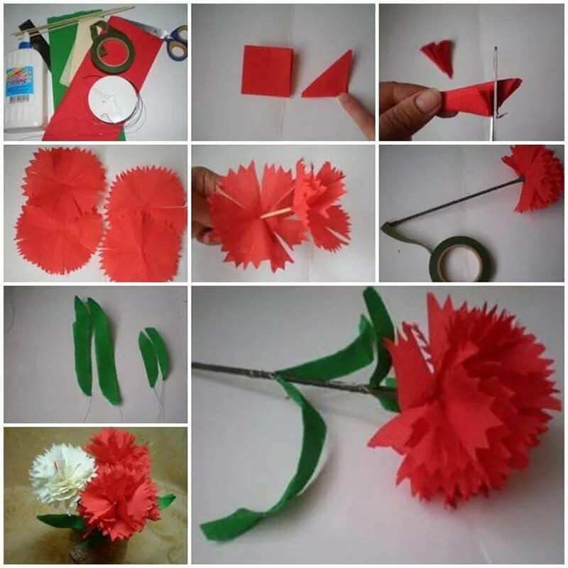 Любимки, как сделать гвоздики из салфеток на открытку
