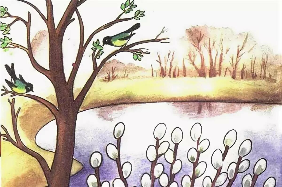 Рисунки весенний пейзаж для детей