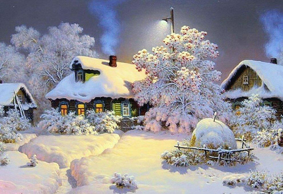 Джинсов, картинки снег идет в деревне