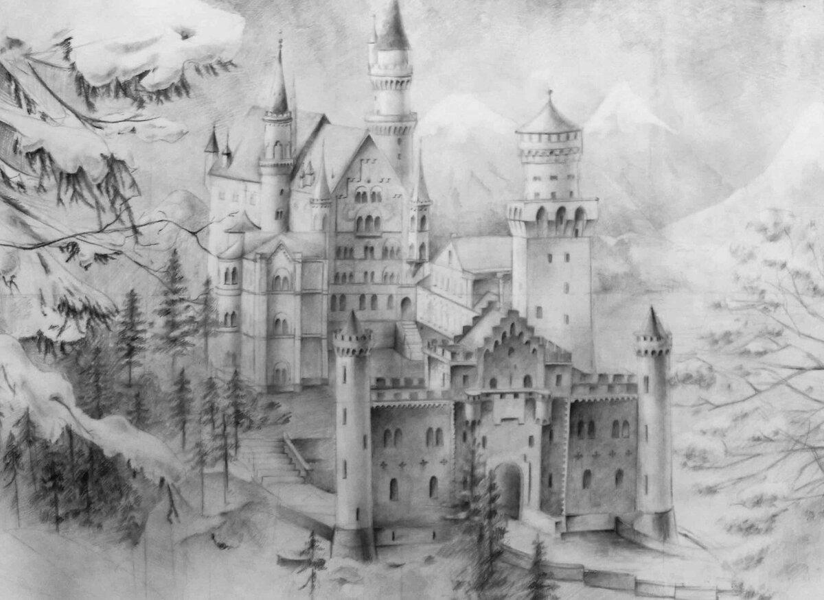 Картинки рисовать карандашом замок
