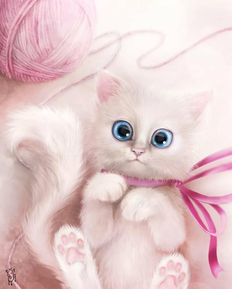 Котики открытки милые нарисованные