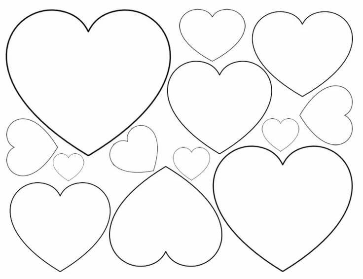 Рисунок сердечки шаблон