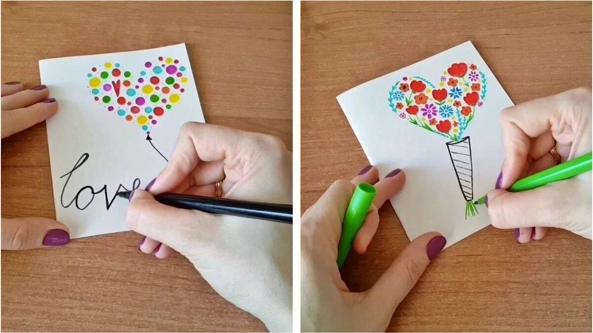 Как нарисовать открытку на день рождения маме легко, поздравления