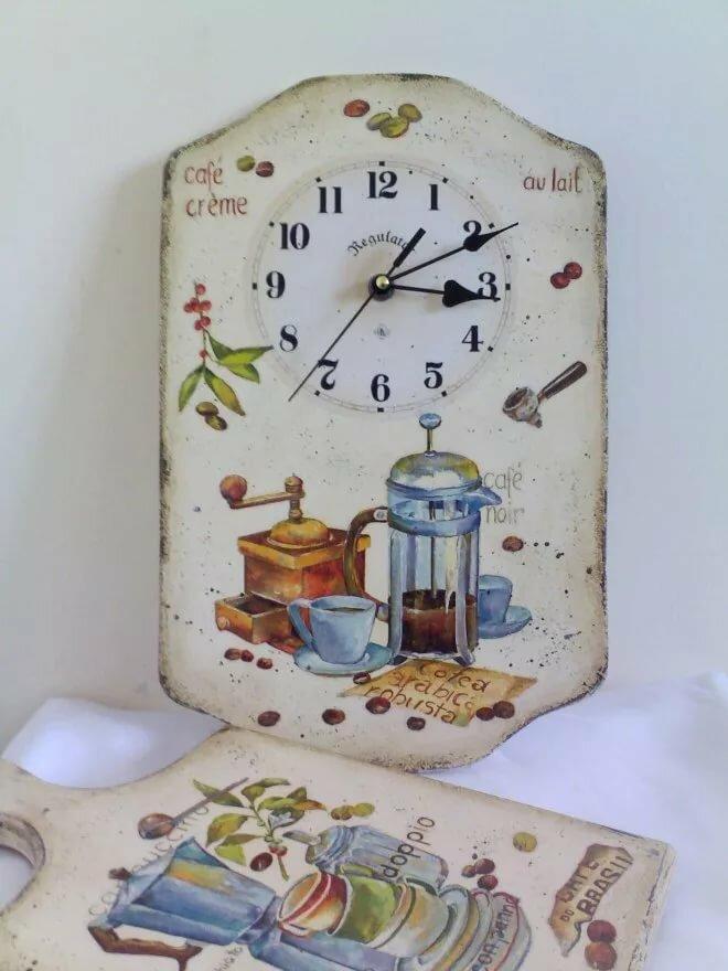 декупаж картинки кухня часы