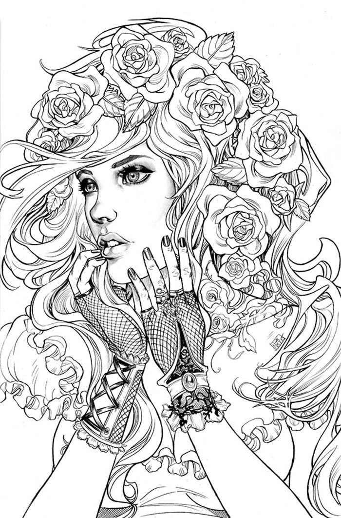 Glamour girls coloring pages for adults #3