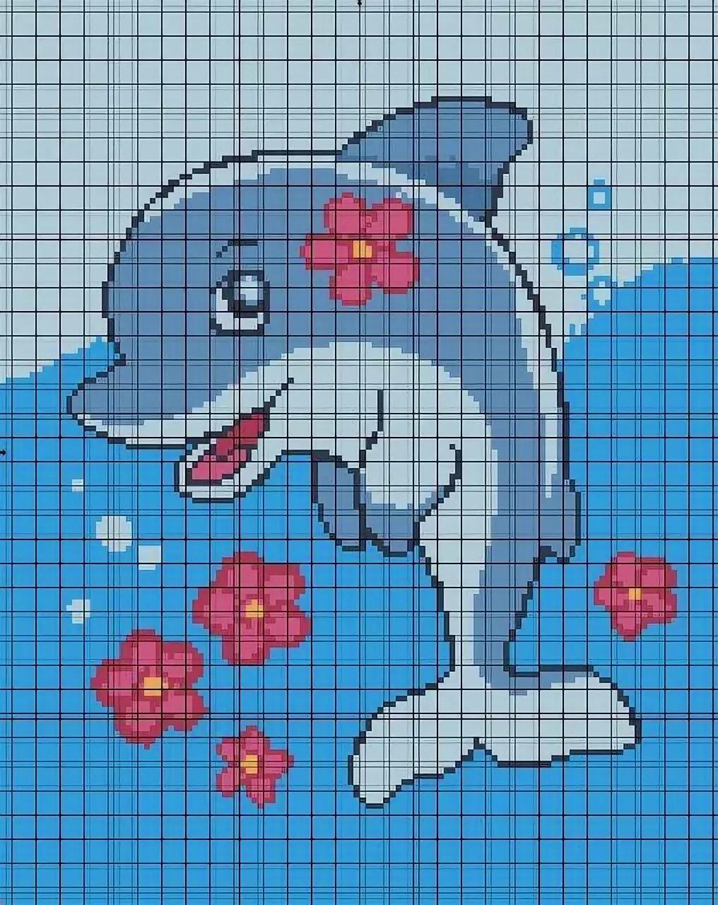 картинки по клеткам дельфин высококачественного спандекса