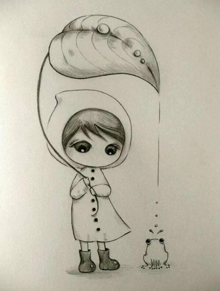 Самые красивые милые рисунки карандашом