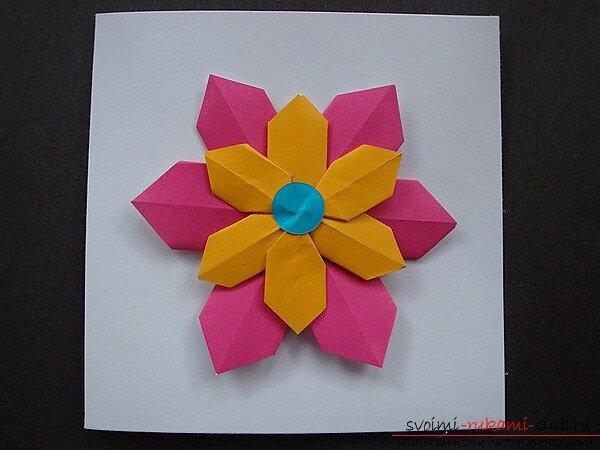 Днем рождения, открытка с цветами оригами своими руками