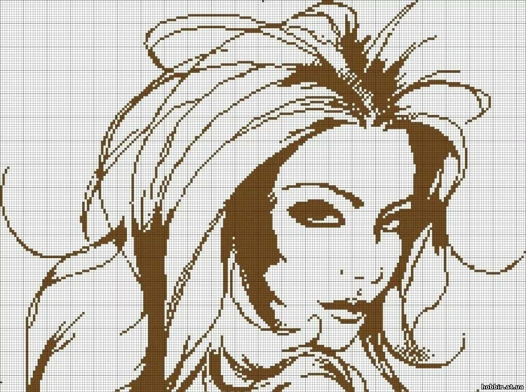 Вышивка крестом картинка девушки