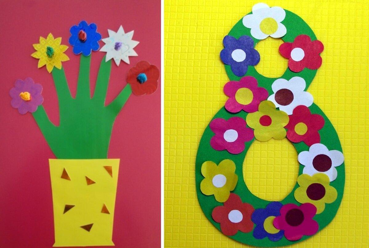 Открытки своими руками на 8 марта для детей 5-6 лет, надписями матами