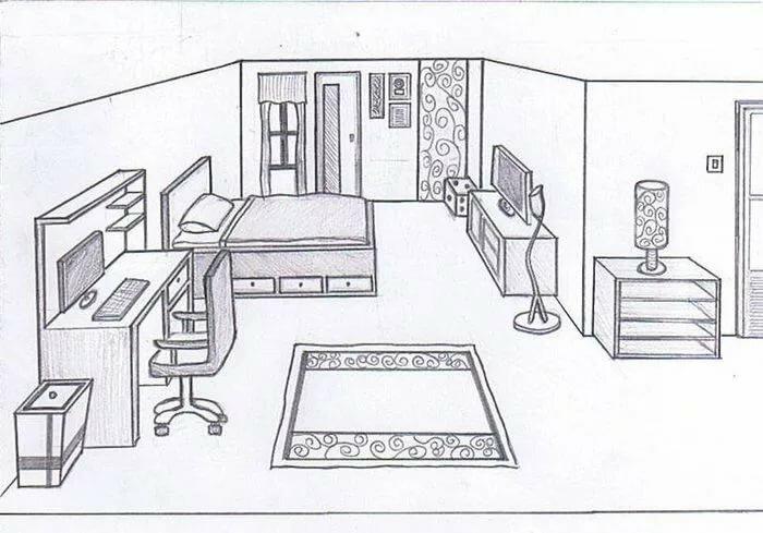 Рисунки комнаты карандашом