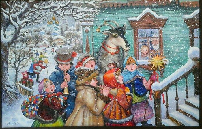 Открытка рождественские колядки, благовещением картинка