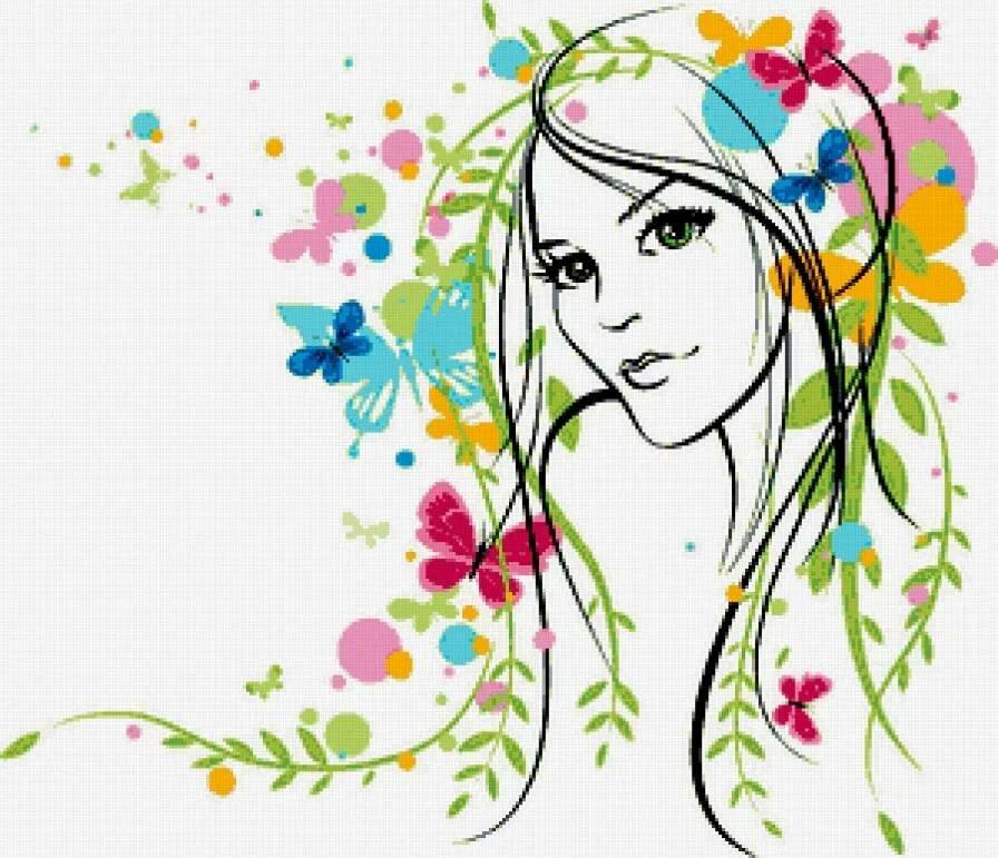 Картинки девушка весна нарисованные