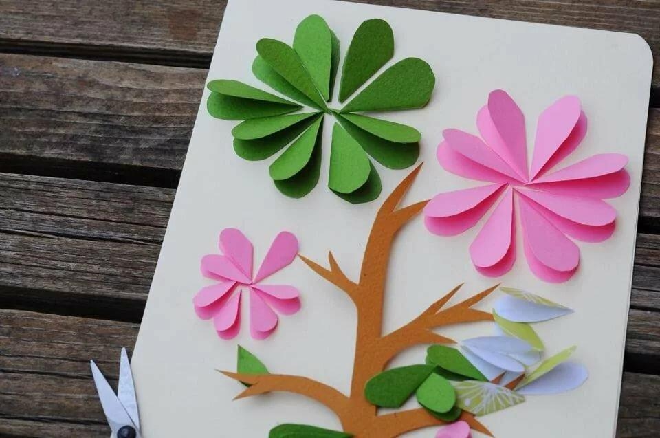 Как сделать цветок в открытку, летним