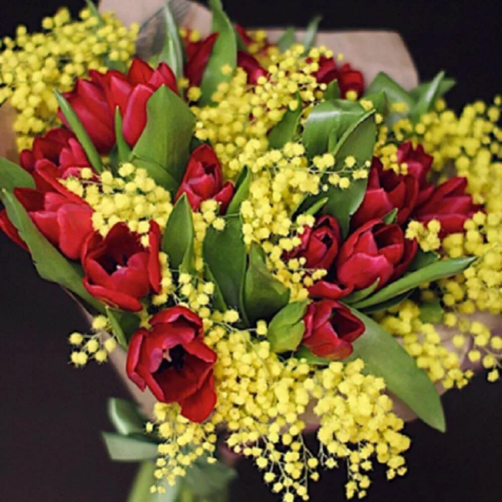 модели букеты мимоза с тюльпанами фото основание может служить