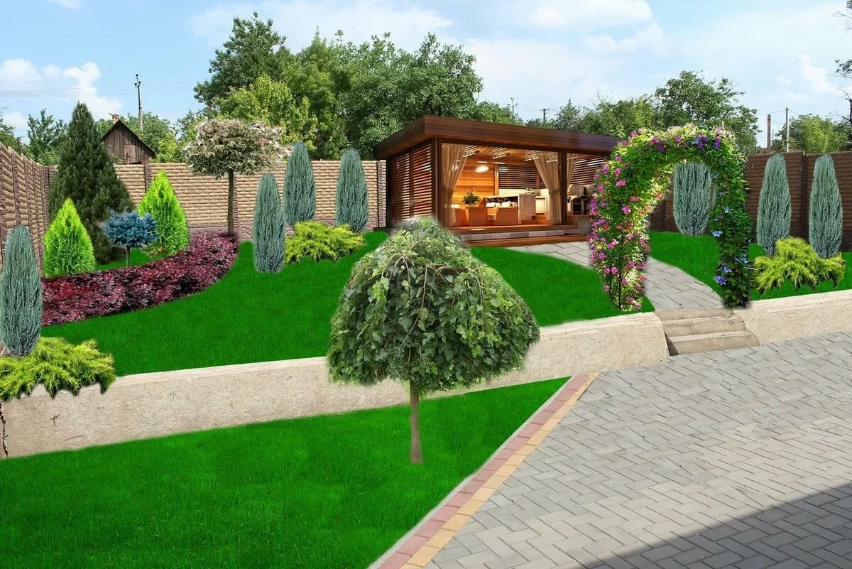 Дизайн двора дома фотогалерея