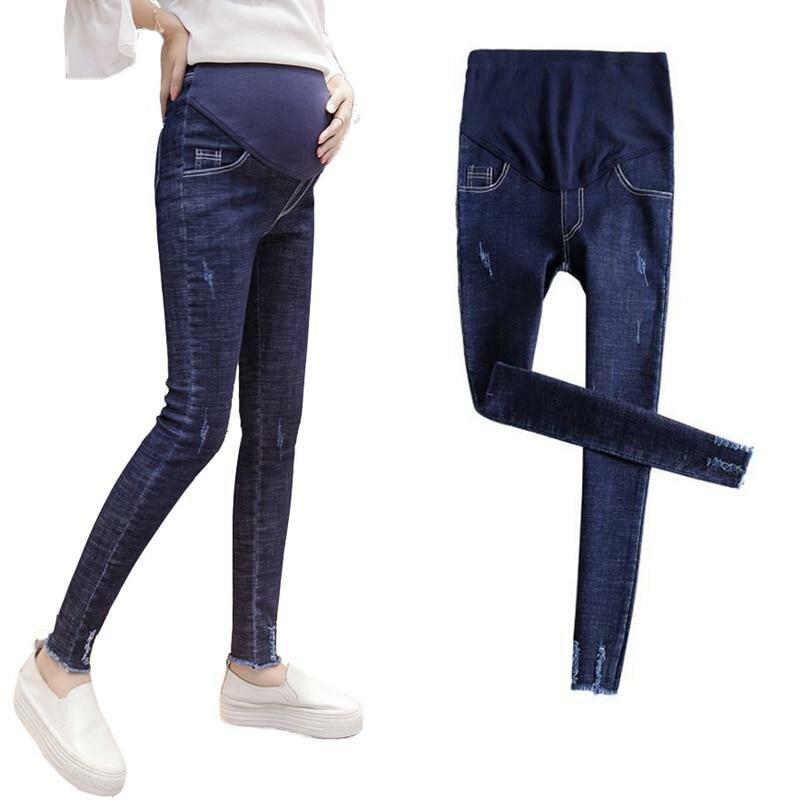 800b7e067ca ... Беременные женщины джинсы обувь  эластичная резинка на талии брюки  изношены ropa embarazada джинсы для беременных