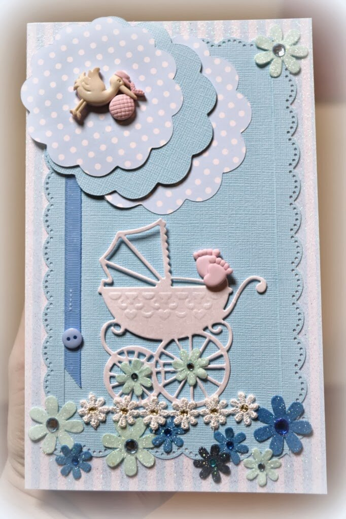 Скрапбукинг коляска на открытке, надписями любви